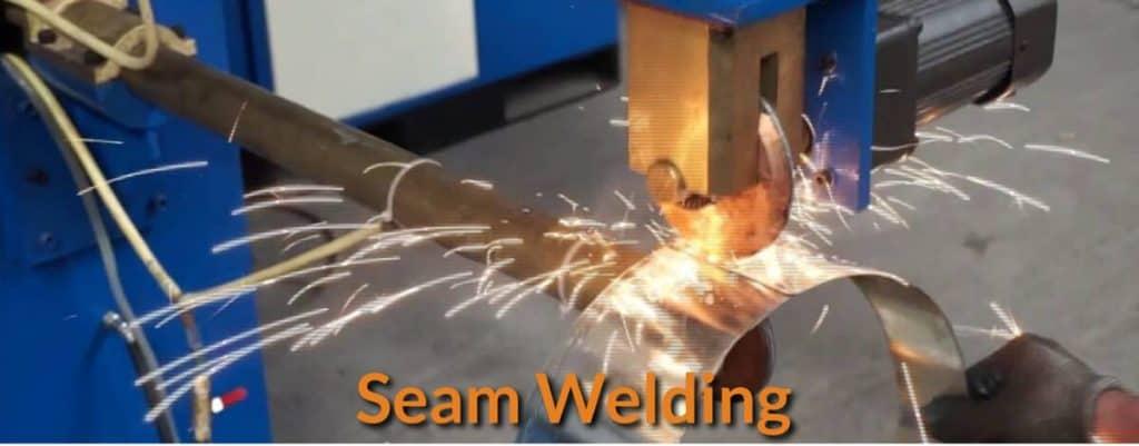 Seam welding on a sheet of metal.