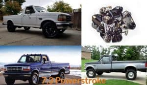 Engine and different models of 7.3 Powerstroke trucks.
