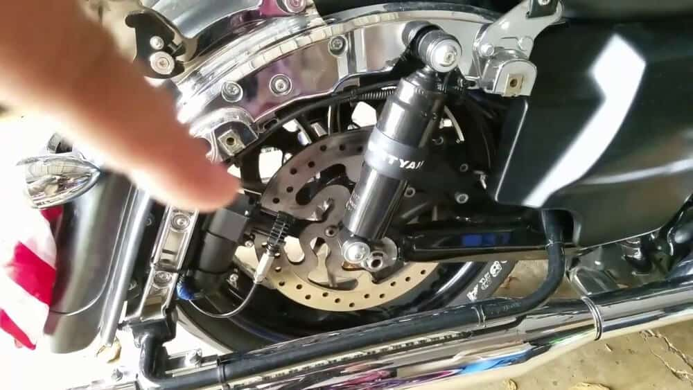 Motorcycle installed with a pair of air ride system.