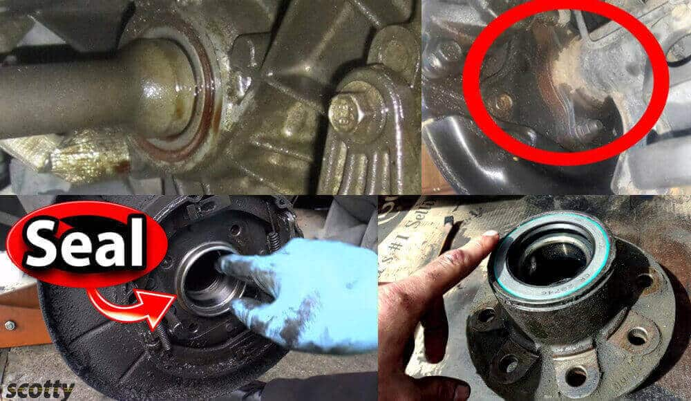 Photos showing how the oil leaked on axle seal.