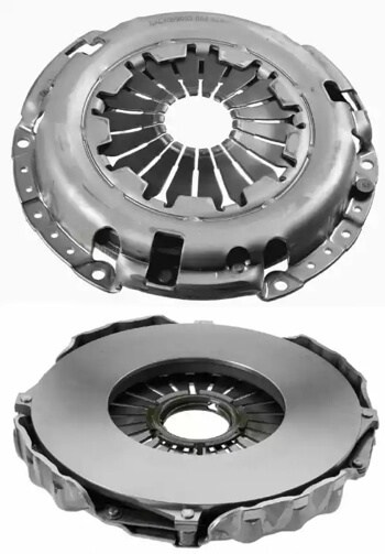 Front and back view of a clutch pressure plate assembly.