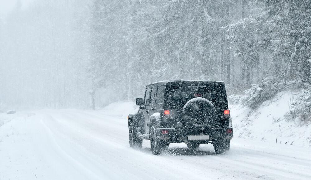 Truck drive in winter.