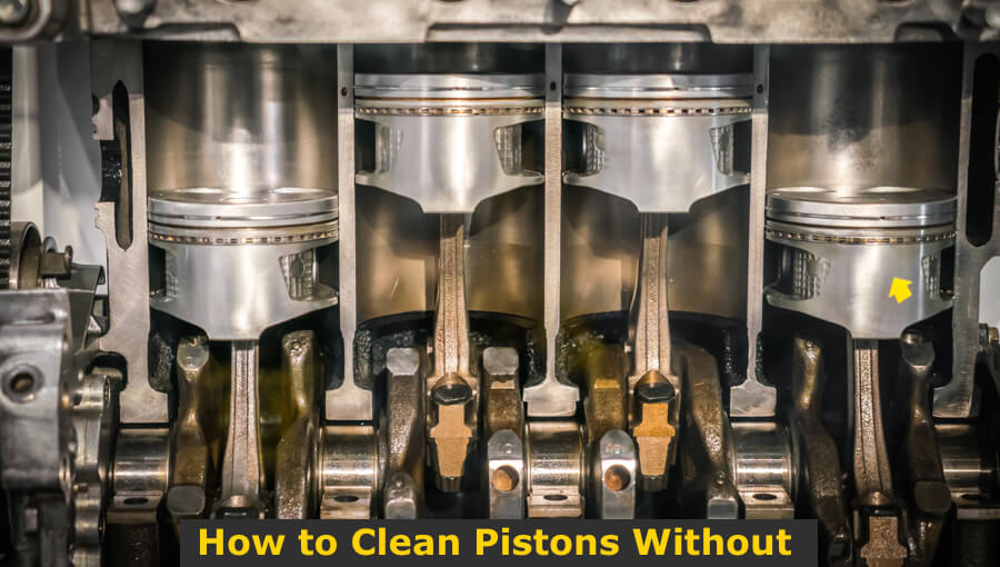 Cleaning piston in the engine.