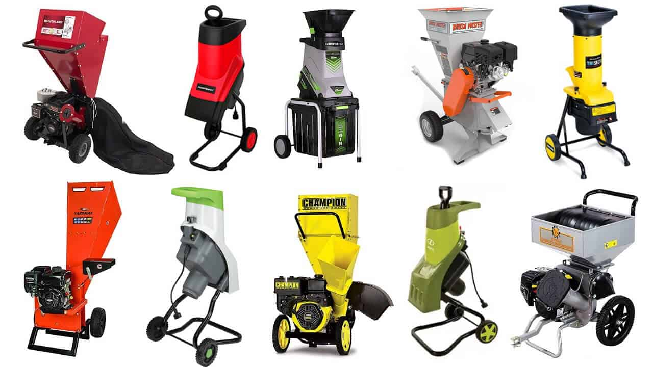 Different types and models of wood chippers for residential and home use.