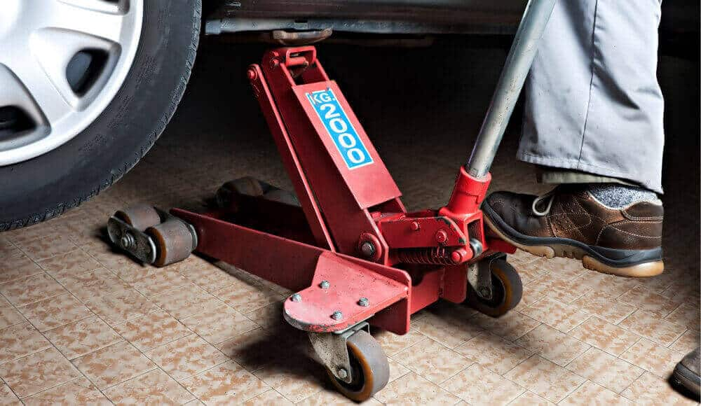 2-ton hydraulic low-profile jack.