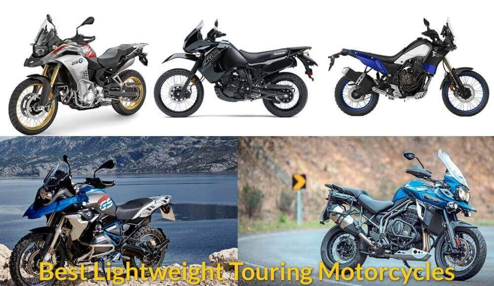 Difference types of lightweight touring motorcycles.