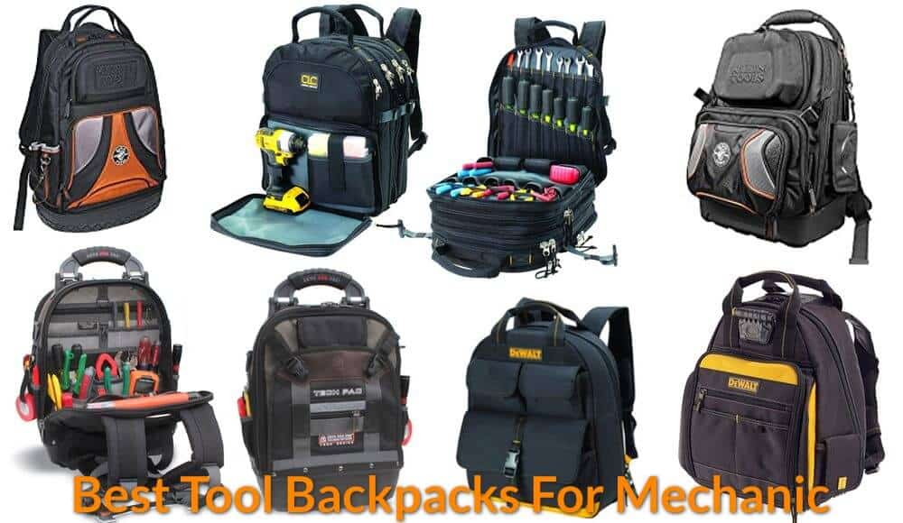 Different types of heavy-duty backpacks for technician and mechanic.