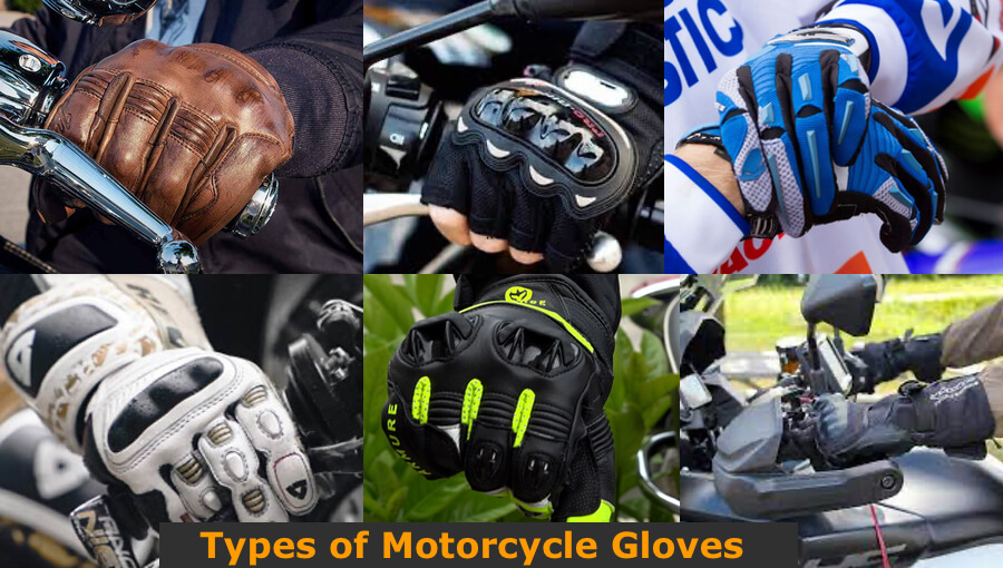 Different types and sizes of motorcycle gloves.