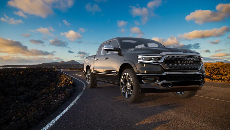 Ram truck driving long-distance trip.
