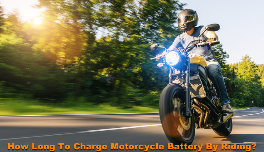 Riding motorcycle on the road to charge the battery.