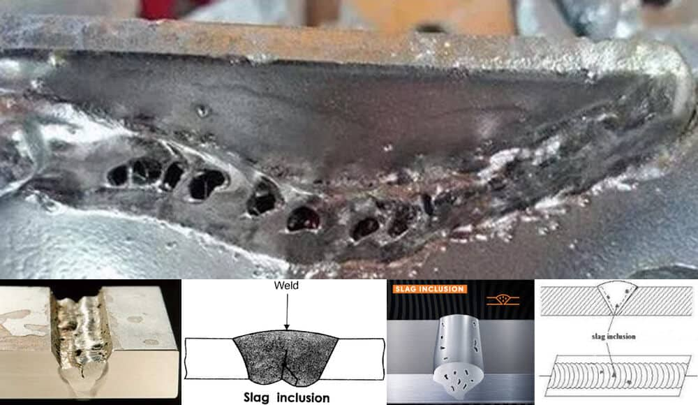 Causes and examples of slag inclusion when welding.