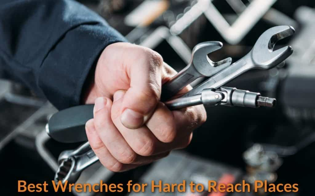Mechanic holding the special-designed wrenches.