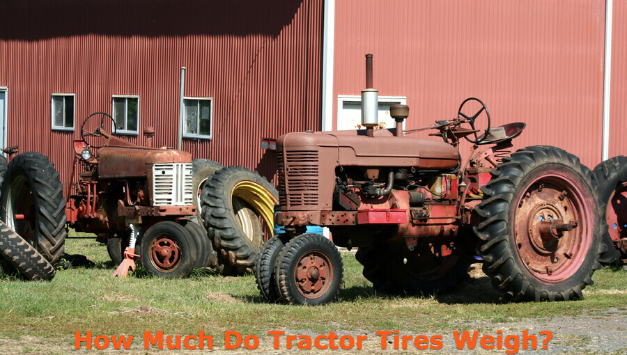 Weights of different types of tractor tires.
