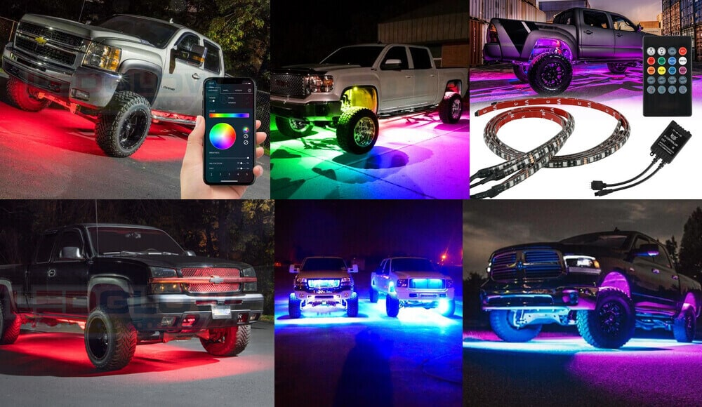 Different models of truck with underbody RGB lights.