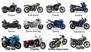 Different types and models of motorcycles on the road.