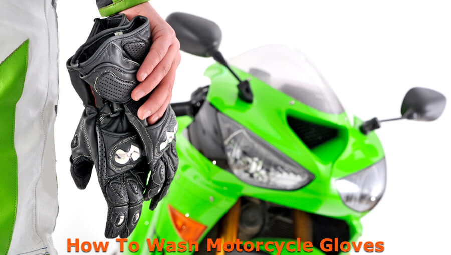 Motorcyclist removed gloves for washing and cleaning.